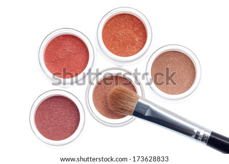 Makeup with brush isolated on white background - stock photo