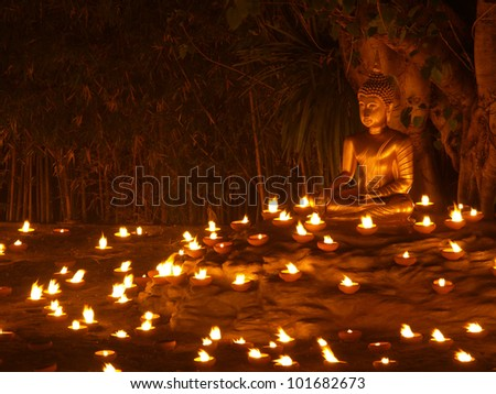 Makha Bucha Day, Visakha Bucha Day, Asarnha Bucha Day - stock photo