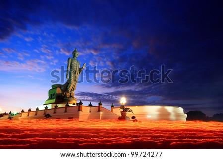 Makhabucha, Visakabucha, Ansahabucha, Buddhism Candle Ceremony, Thailand - stock photo