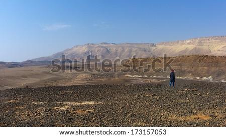 Makhtesh Ramon Crater in the Negev Desert - stock photo