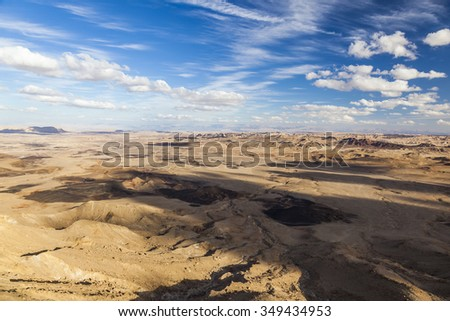 Makhtesh Ramon (Ramon Crater) landscape. Negev desert. Israel - stock photo