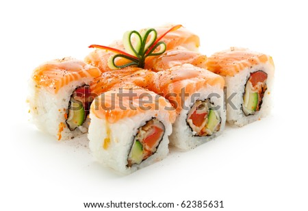 Maki Sushi - Roll made of Smoked Eel, Cream Cheese and Deep Fried Vegetables inside. Fresh Salmon outside - stock photo