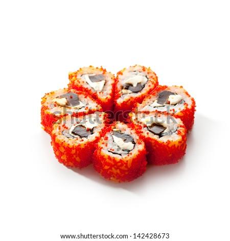 Maki Sushi - Sushi Roll with Mushrooms Shiteke and Cream Cheese inside. Tobiko outside - stock photo