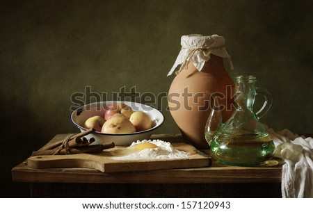 Making a cake with cinnamon - stock photo