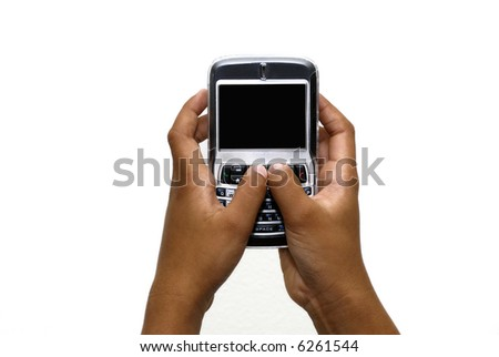 Making a call using a pda cell phone - stock photo