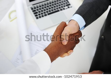 Making a successful deal for building at Middle east - stock photo