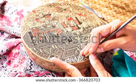 Making antique asian handicraft - stock photo