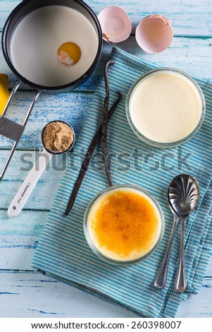 making creme brulee view from above - stock photo