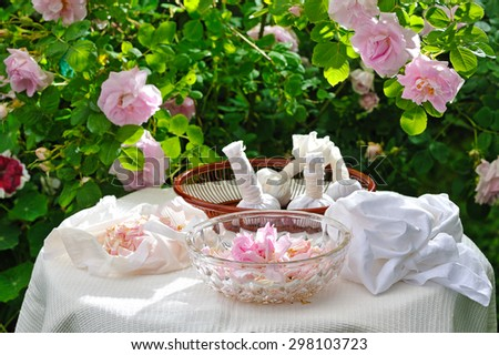 making herbal rose bags for spa and massage in front of rose garden - stock photo