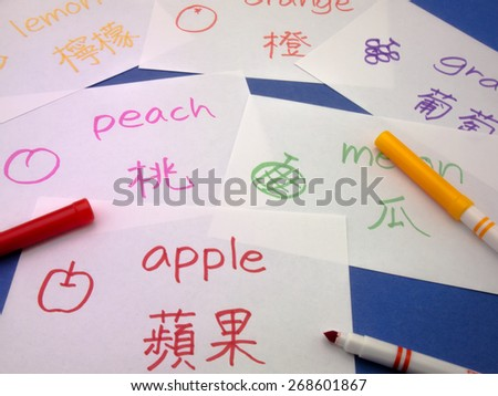Making language flash cards for fundamental words; apple, lemon, peach, melon, grape and orange. - stock photo