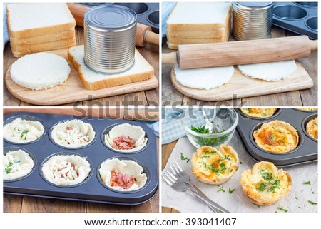 Making mini quiche with bacon, using bread toast instead of dough, collage - stock photo