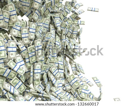 Making money: bunches of US dollar isolated on white - stock photo