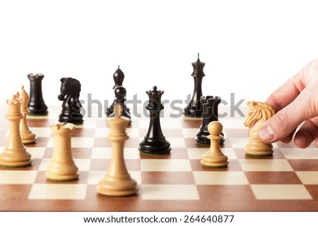 Making strategic decisions in business like playing the chess game - stock photo