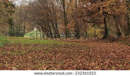 Maksimir park in Zagreb, Croatia in autumn, view at Mogila hill made of soil from all parts of Croatia - stock photo