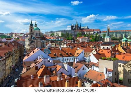 Mala Strana (Lesser Town of Prague) and Prague Castle. Prague, Czech Republic - stock photo