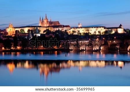 Mala Strana night view from the river - stock photo
