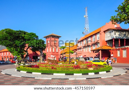 MALACCA, MALAYSIA - MAY 19: A view of Christ Church & Dutch Square on May 19, 2012 in Malacca, Malaysia. It was built in 1753 by Dutch & is the oldest 18th century Protestant church in Malaysia. - stock photo