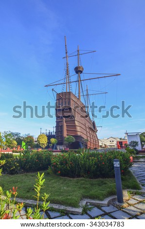 MALACCA, MALAYSIA - Oct 13: Malacca Maritime Museum at Malacca city on Oct 13, 2015 in Malacca, Malaysia. Malacca has been listed as a UNESCO World Heritage Site since 7 July 2008. - stock photo