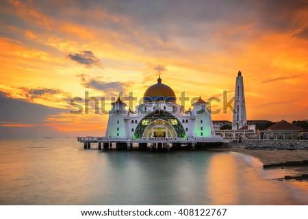 Malacca Straits Mosque, Malaysia at sunset - stock photo