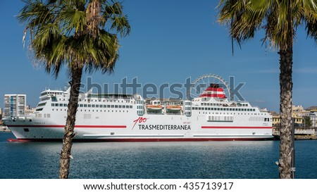 MALAGA, ANDALUCIA/SPAIN - MAY 25 : View of a Cruise Ship Docked in Malaga Harbour Spain on May 25, 2016 - stock photo