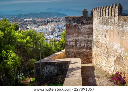 Malaga cityscape, view from the Gibralfaro fortress. Andalusia, Spain - stock photo