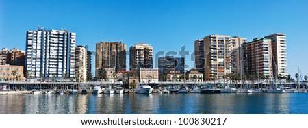 Malaga Harbor and City - Spain - stock photo