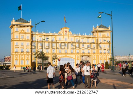 MALAGA, SPAIN - AUGUST 21, 2014: Unidentified people at the august fair of Malaga - stock photo