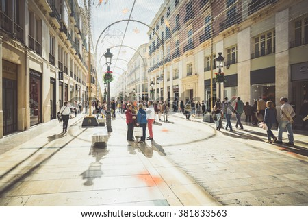 MALAGA, SPAIN - JANUARY 23: Larios Street on January 23, 2016 in Malaga, Spain. It is the second most populous city of Andalusia and the sixth largest in Spain.  - stock photo