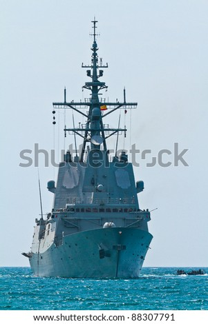 MALAGA, SPAIN-MAY 28: Frigate F-101 Alvaro de Bazan taking part in an exhibition on the day of the spanish army forces on May 28, 2011, in Malaga, Spain - stock photo