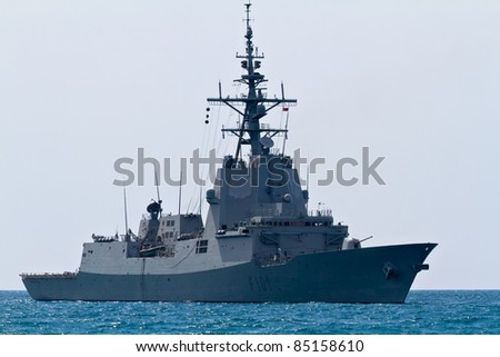 MALAGA, SPAIN-MAY 28: The Frigate F-101 Alvaro de Bazan takes part in an exhibition on the day of the spanish army forces on May 28, 2011, in Malaga, Spain - stock photo