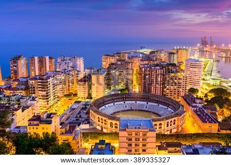 Malaga, Spain skyline towards the Mediterranean Sea. - stock photo
