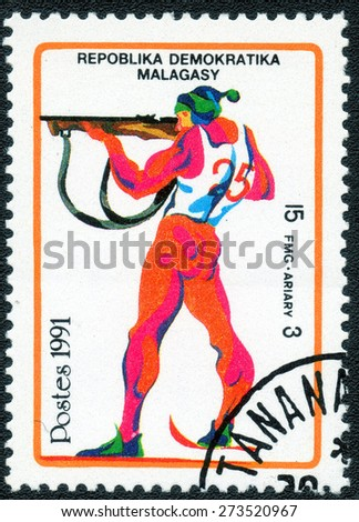 MALAGASY CIRCA 1991: stamp printed by Malagasy, shows a series of images of the Winter Olympic Games, circa 1991 - stock photo