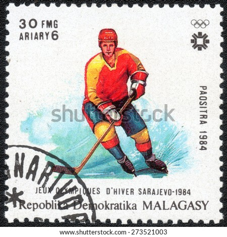 MALAGASY-CIRCA 1984: stamp printed by Malagasy, shows a series of images of the Winter Olympics in Sarajevo, circa 1984 - stock photo
