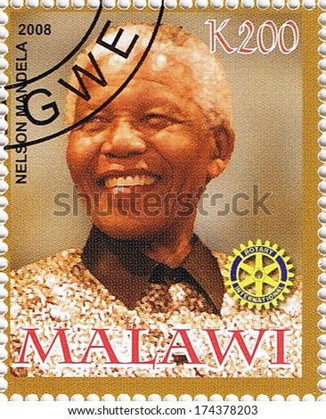 MALAWI - CIRCA 2008: A stamp printed in Malawi shows Nelson Mandela, series, circa 2008 - stock photo