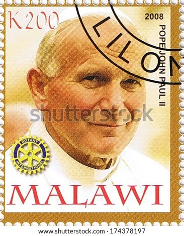 MALAWI - CIRCA 2008: A stamp printed in Malawi shows Pope John Paul II, series, circa 2008 - stock photo