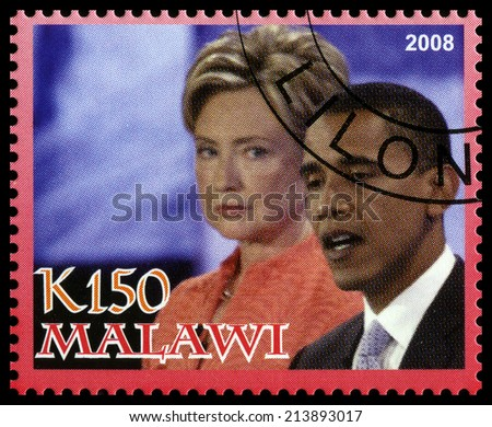 MALAWI - CIRCA 2008: A used Postage Stamp from Malawi depicting an image of both Barack Obama (the 44th president of the United States of America) and Hillary Clinton, circa 2008. - stock photo