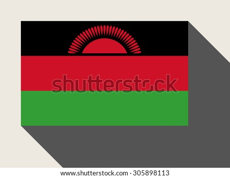 Malawi flag in flat web design style. - stock photo