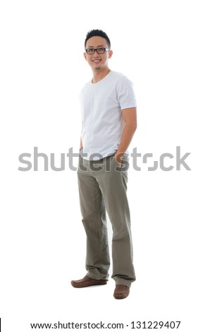 Malay Indonesian male in casual clothes full body with isolated white background - stock photo
