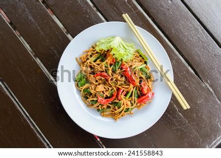Malay style stir fried noodles - stock photo