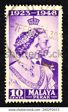MALAYA - CIRCA 1948: Blue color postage stamp printed in Perak (Federation of Malaya) with portrait image of King George VI and Queen Elizabeth, to commemorate 25th year wedding anniversary. - stock photo