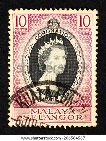 MALAYA - CIRCA 1953: Purple color postage stamp printed in Malaya Selangor with portrait image of Queen Elizabeth II to commemorate her coronation on 2nd June 1953. - stock photo