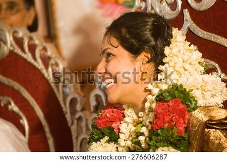 Malayali bride closeup Trichur, Kerala, south India, Asia  - stock photo