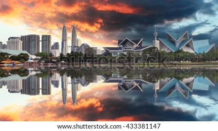 Malaysia at sunset, Kuala Lumpur - stock photo