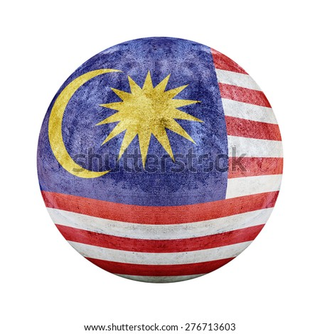 Malaysia flag pattern on stone circle shape texture - stock photo