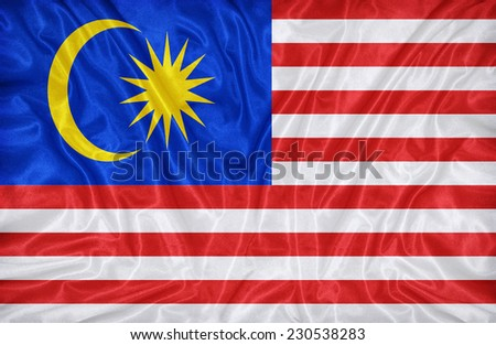 Malaysia flag pattern on the fabric texture ,vintage style - stock photo