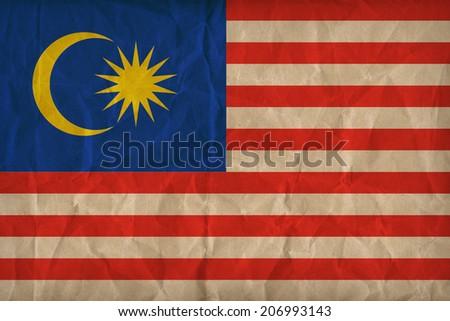 malaysia flag pattern on the paper texture, retro vintage style - stock photo