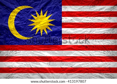Malaysia flag pattern overlay on floyd of candy shell, vintage border style - stock photo