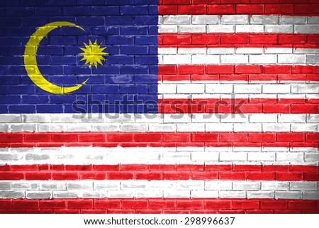 malaysia flag,wall texture background - stock photo