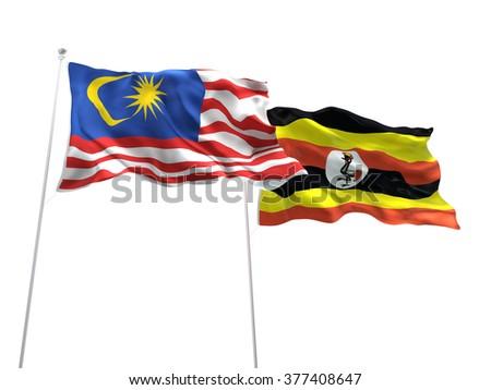 Malaysia & Uganda Flags are waving on the isolated white background - stock photo