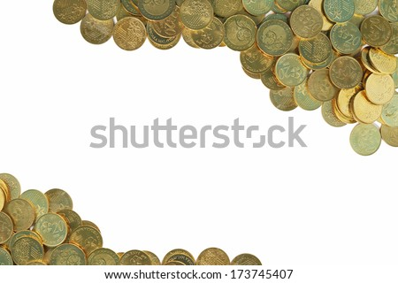 Malaysian coin currency border. Isolated on white background focus  - stock photo